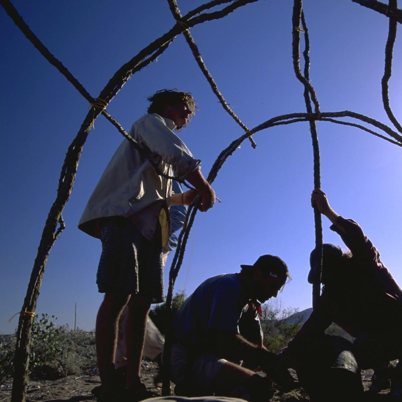 Survivalists build structure with sticks